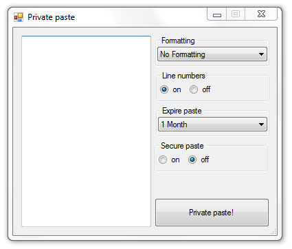 PrivatePaste main window